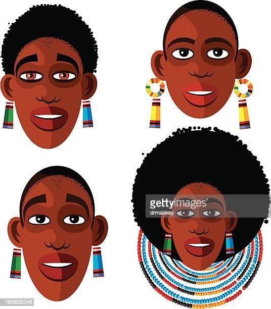 ilustraciones, imágenes clip art, dibujos animados e iconos de stock de africana de caras - masai