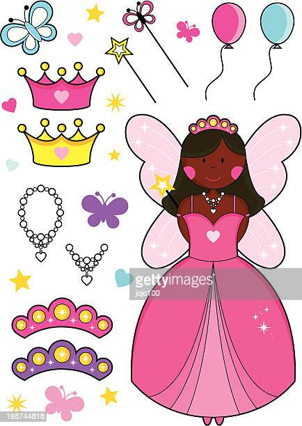 African Fairy Princess with Balloons, Tiaras, Crowns, Wands and Necklaces.