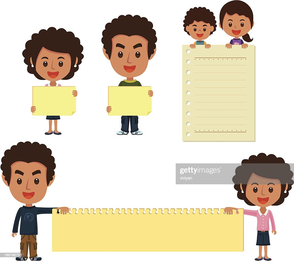 African family with banner : stock illustration
