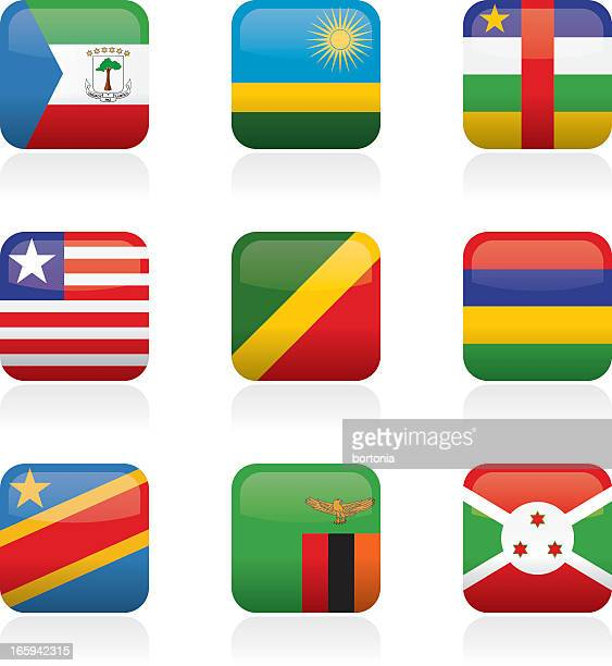 african flag buttons - liberia stock illustrations, clip art, cartoons, & icons
