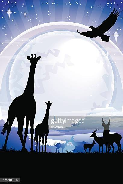 african giraffes and antelopes silhouettes safari against kilimanjaro at night - mt kilimanjaro stock illustrations, clip art, cartoons, & icons