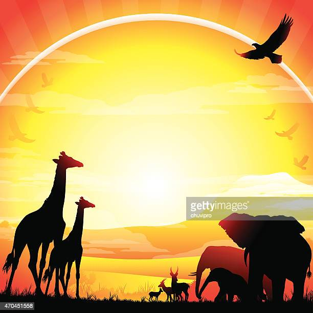 african giraffes and elephant silhouettes safari kilimanjaro - mt kilimanjaro stock illustrations, clip art, cartoons, & icons