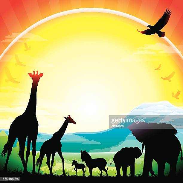 african giraffes, elephants and zebras silhouettes safari against kilimanjaro - mt kilimanjaro stock illustrations, clip art, cartoons, & icons