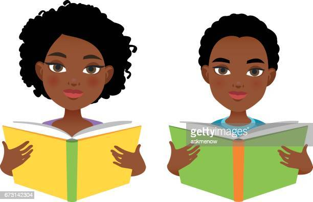 African girl and boy reading books