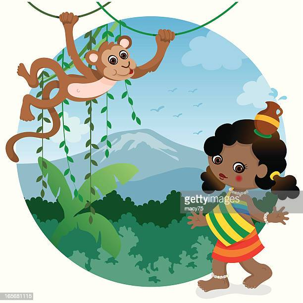 African girl and monkey