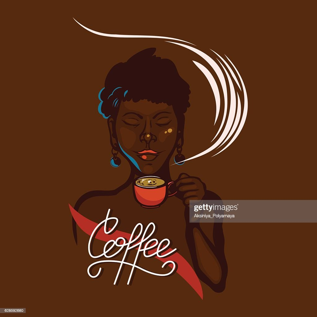African girl holding a cup of coffee.