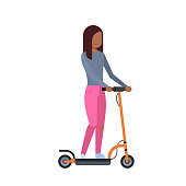 african girl riding electric kick scooter over white background. cartoon full length character. flat style