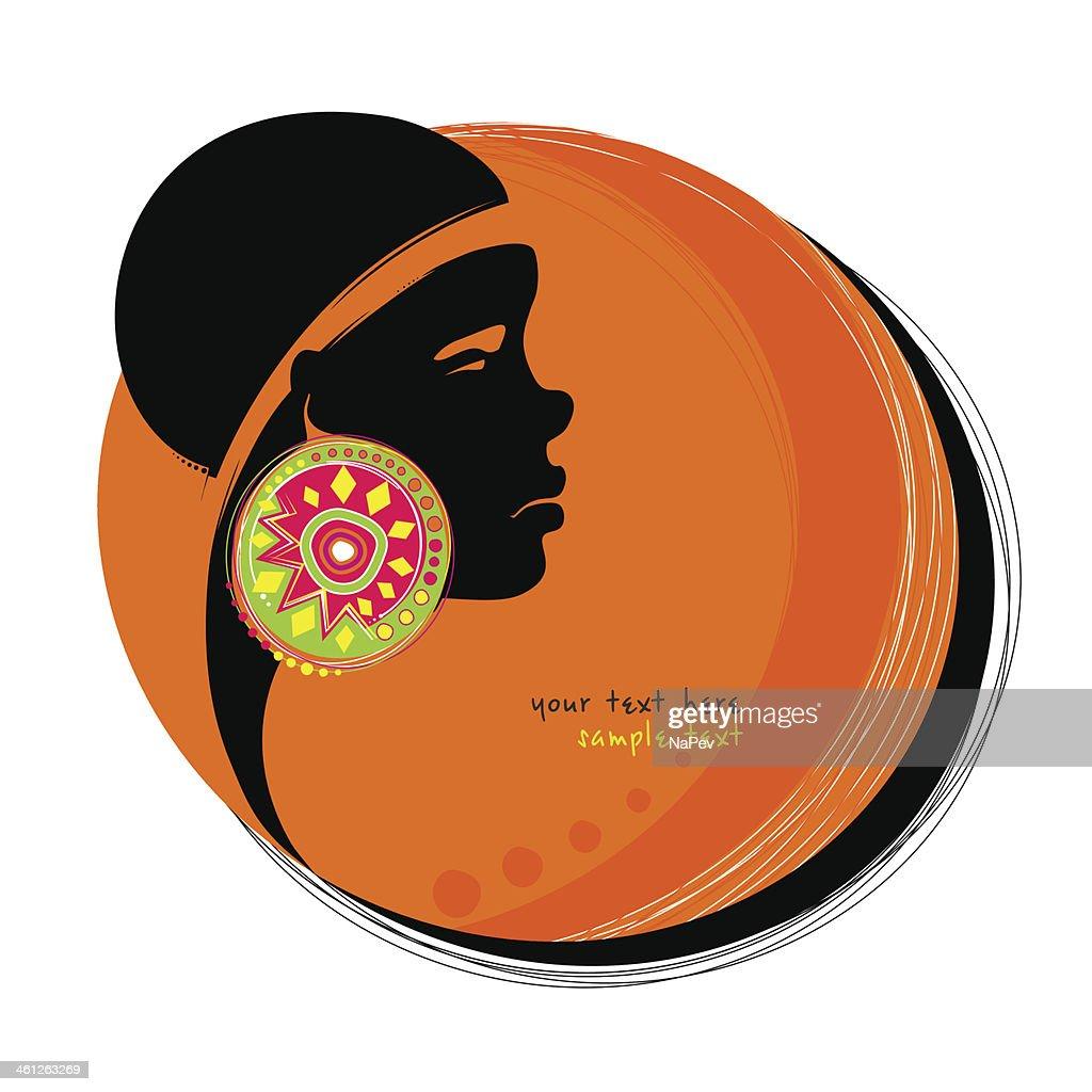 African girl with big beautiful earring