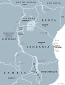 African Great Lakes, gray map