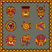 African hand drawn art icons set