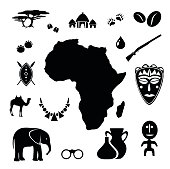 African icon set vector illustration