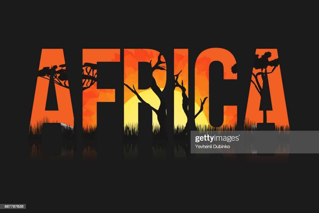 African landscape with trees and sun. Lettering Africa with savanna, prairies, sunset inside