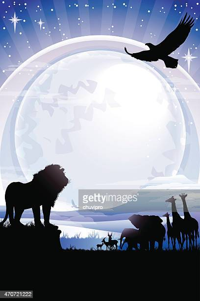 african lion, elephants, giraffes and antelopes silhouettes safari at night - mt kilimanjaro stock illustrations, clip art, cartoons, & icons