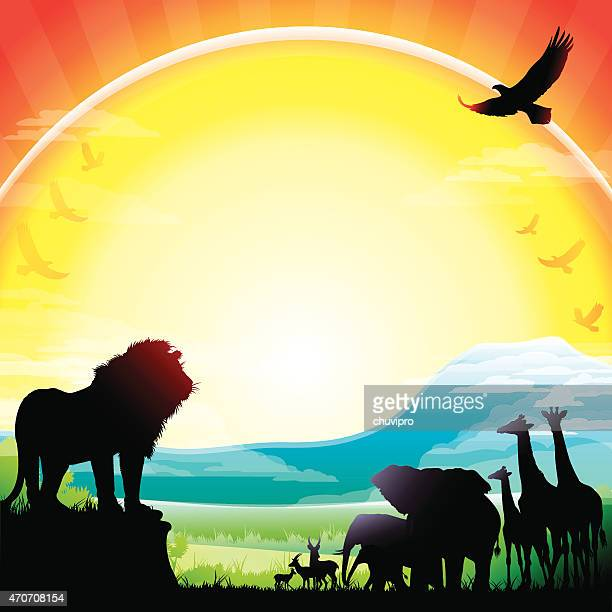 african lion, elephants, giraffes and antelopes silhouettes safari against kilimanjaro - mt kilimanjaro stock illustrations, clip art, cartoons, & icons