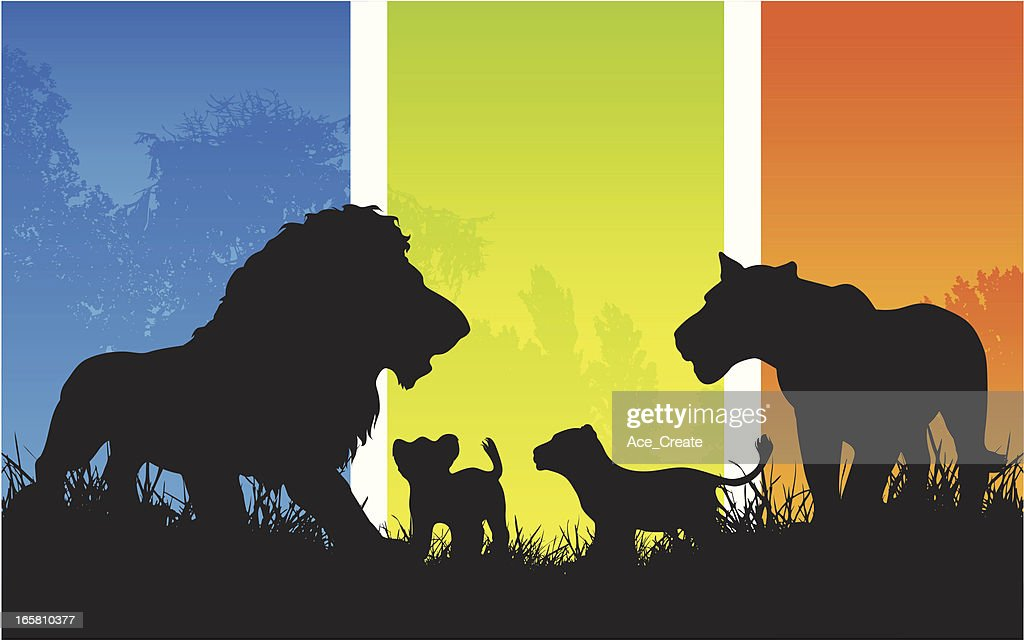 African lion family pride with cubs silhouette