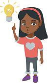 African little girl pointing at the lightbulb