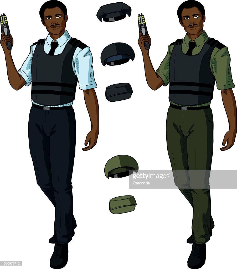 African male police officer holds taser