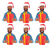 African man in Santa Claus hat. African american man gives a gift. Vector illustration set