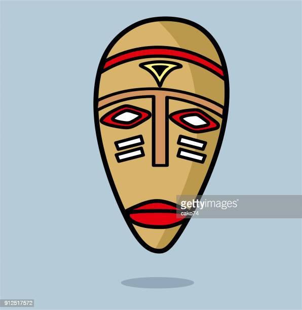illustrations, cliparts, dessins animés et icônes de illustration vectorielle de masque africain - masque africain