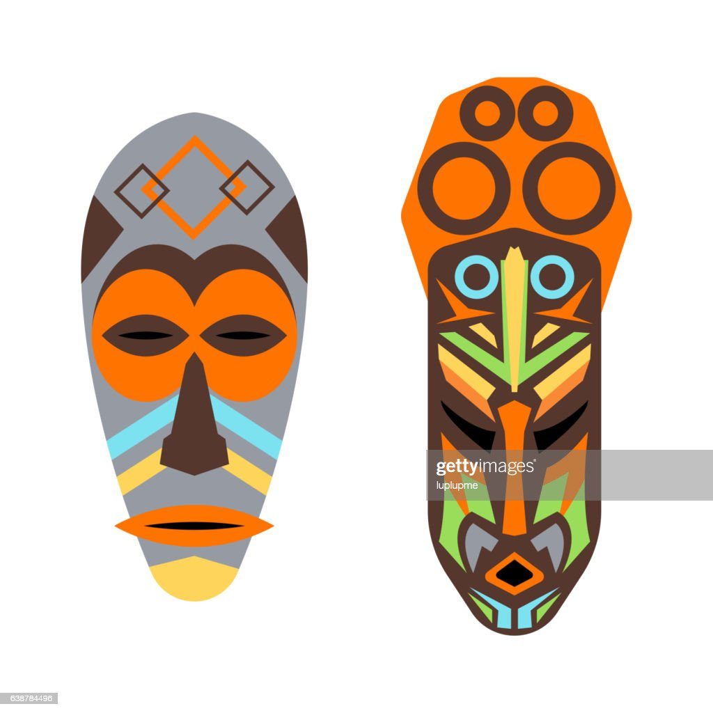African mask vector set.