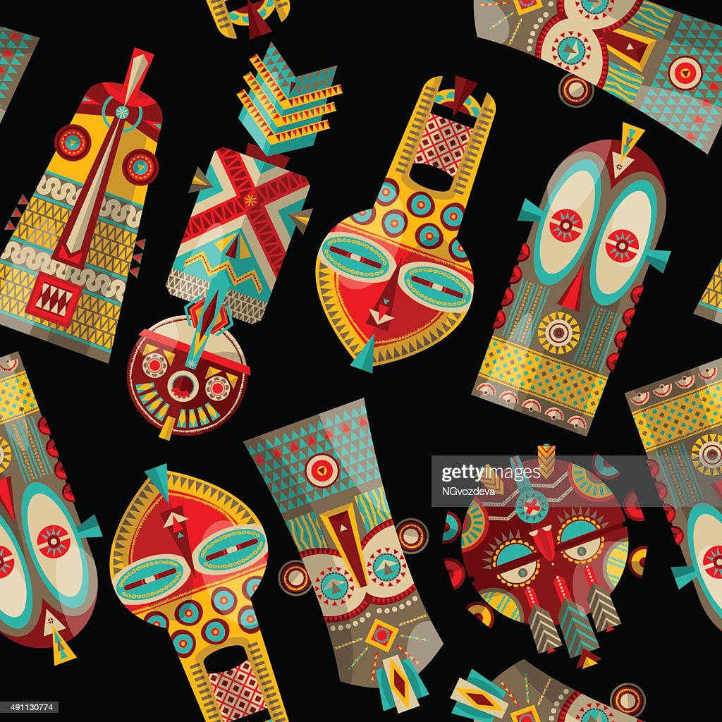 African masks of different shapes. Seamless background pattern.