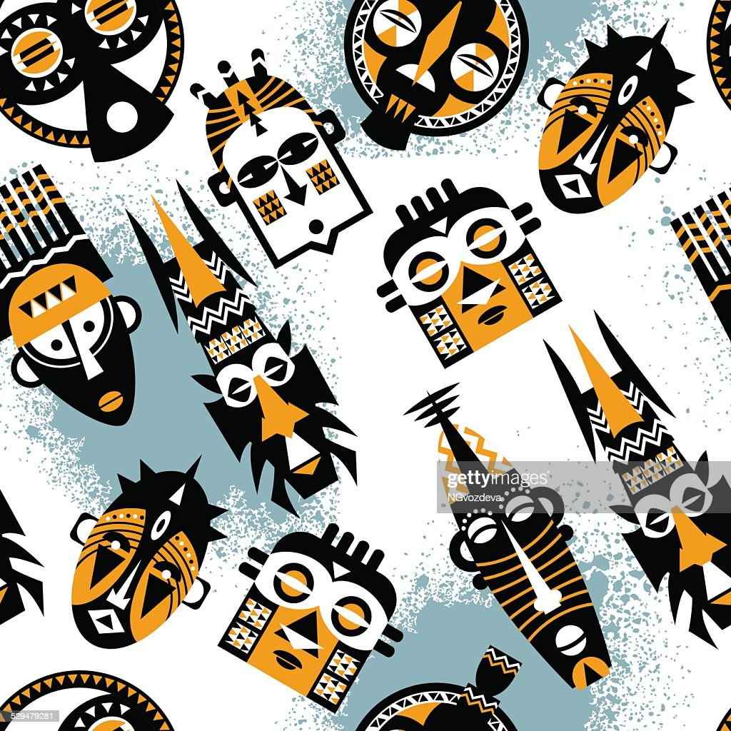African masks. Seamless background pattern.