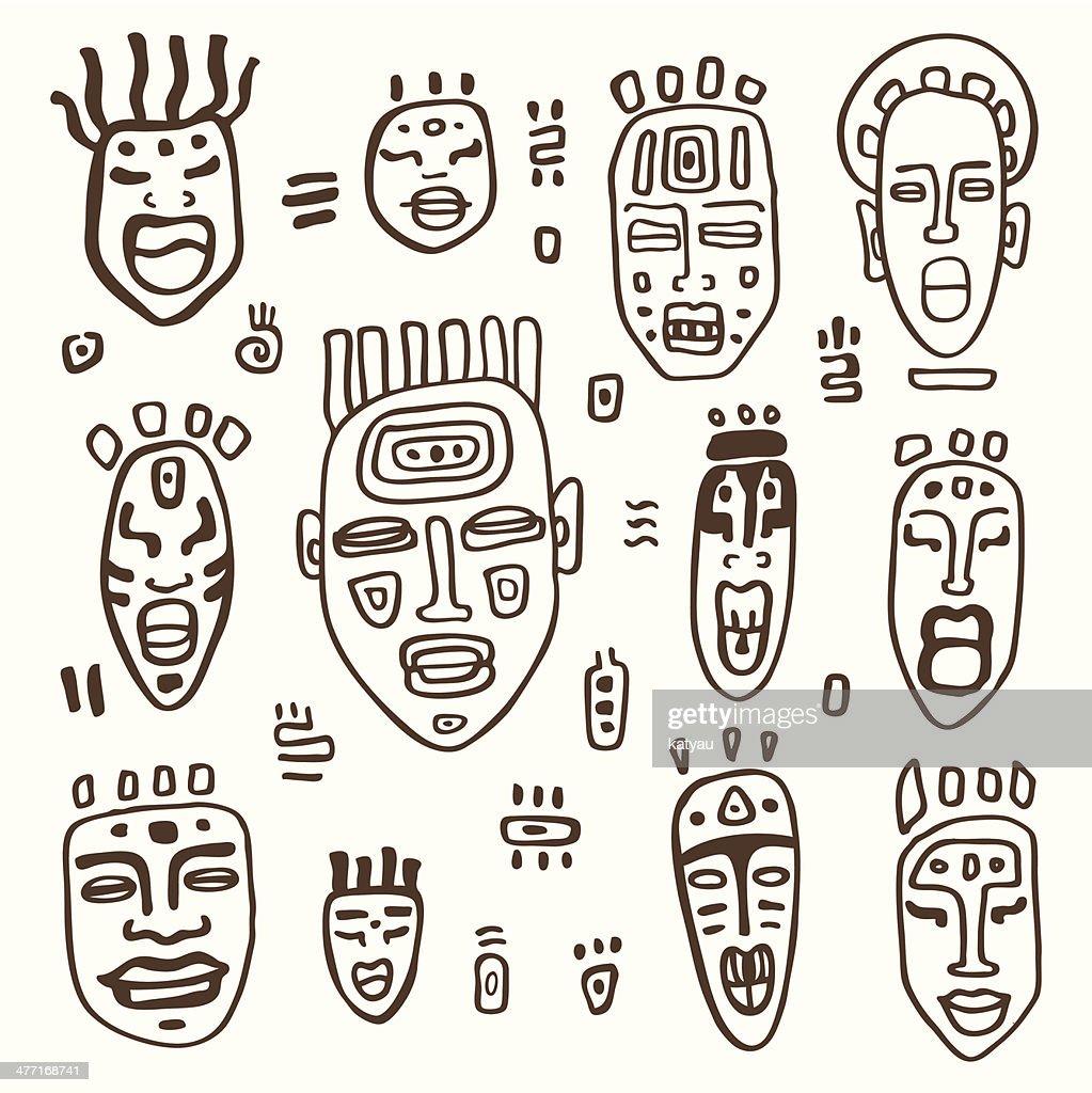 African Masks set.