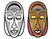 African, mexican, indian tribal masks isolated on white background