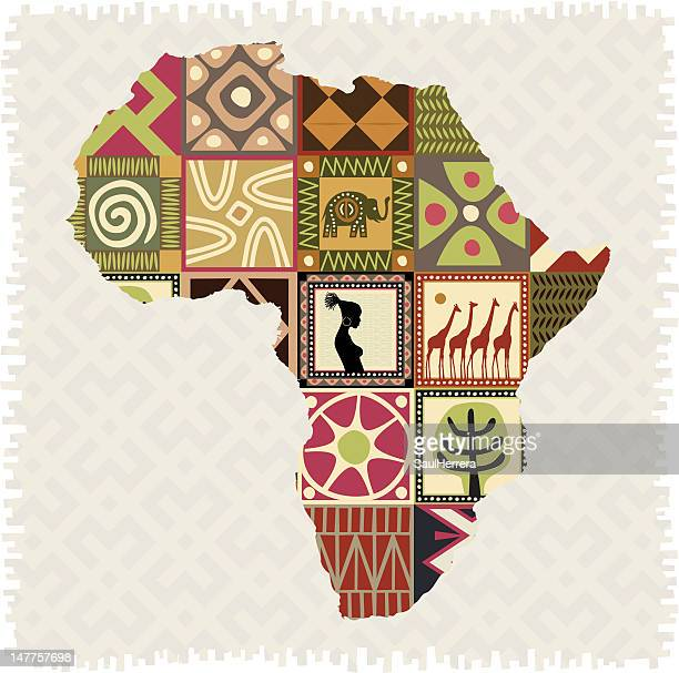 african mosaic in map - africa stock illustrations
