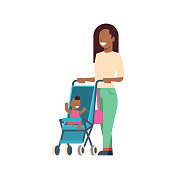 african mother baby son in stroller full length avatar on white background, successful family concept, flat cartoon
