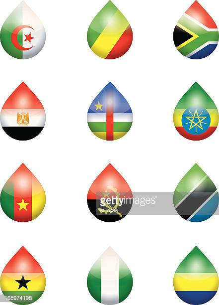 african national flags droplets - ghana stock illustrations, clip art, cartoons, & icons