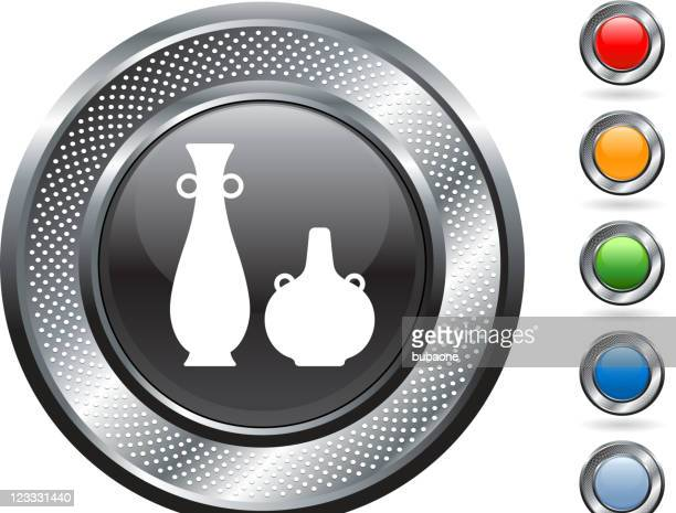 african pottery royalty free vector art on metallic button - earthenware stock illustrations, clip art, cartoons, & icons
