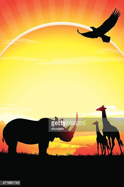 african rhino and giraffes silhouettes safari in hot day - mt kilimanjaro stock illustrations, clip art, cartoons, & icons