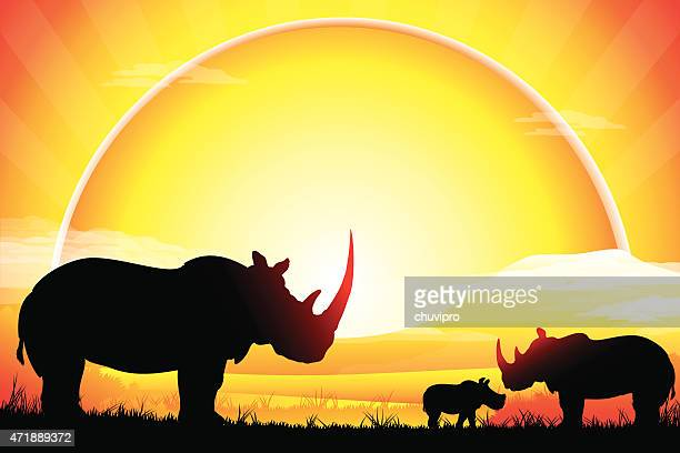 african rhino family silhouettes safari in hot day - mt kilimanjaro stock illustrations, clip art, cartoons, & icons