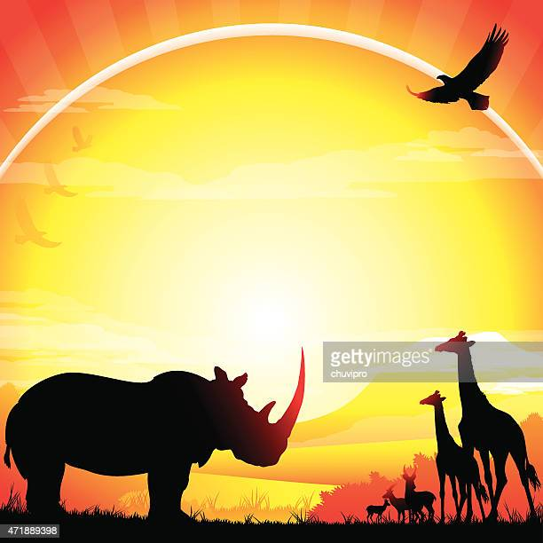 african rhino, giraffes and antelopes silhouettes safari in hot day - mt kilimanjaro stock illustrations, clip art, cartoons, & icons
