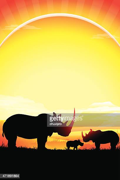 african rhinos family silhouettes safari in hot day - mt kilimanjaro stock illustrations, clip art, cartoons, & icons