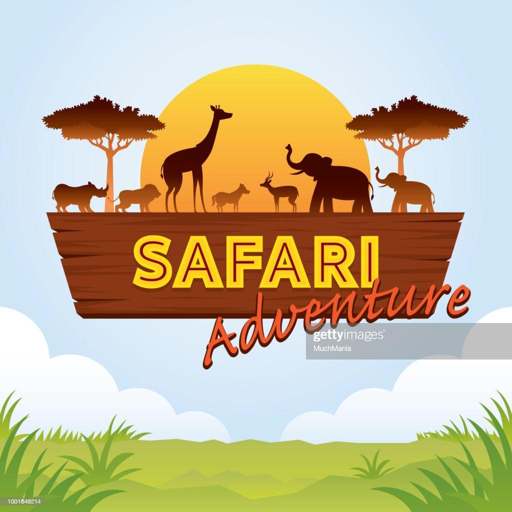 African Safari Adventure Sign