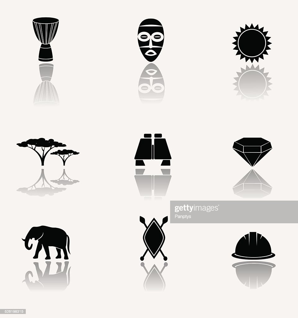 African safari and jungle. Vector icons.