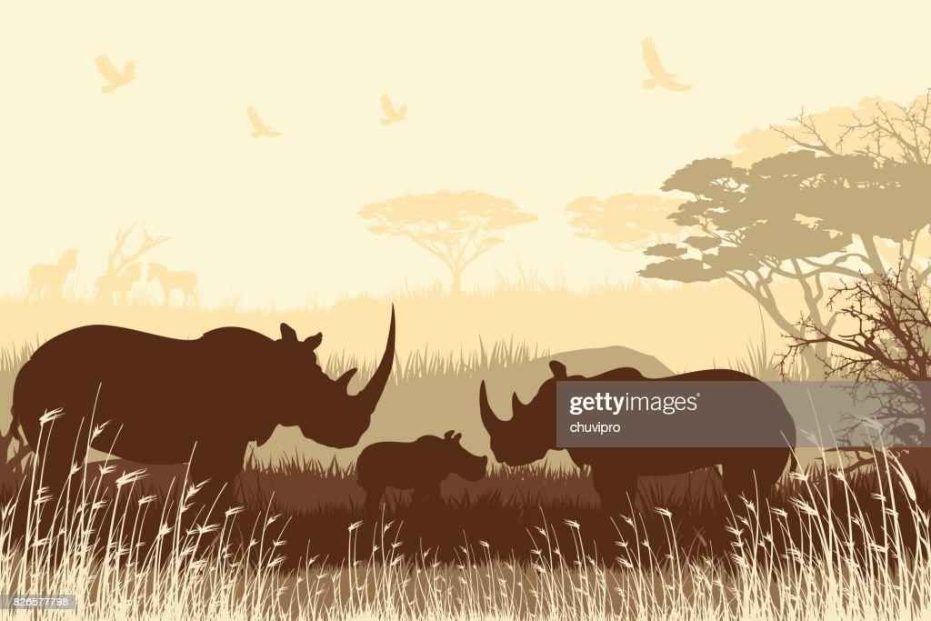 African Safari Background With Rhino Family stock illustration