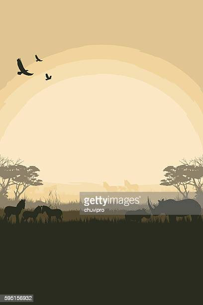 african safari background with rhinos and zebras - prairie stock illustrations, clip art, cartoons, & icons