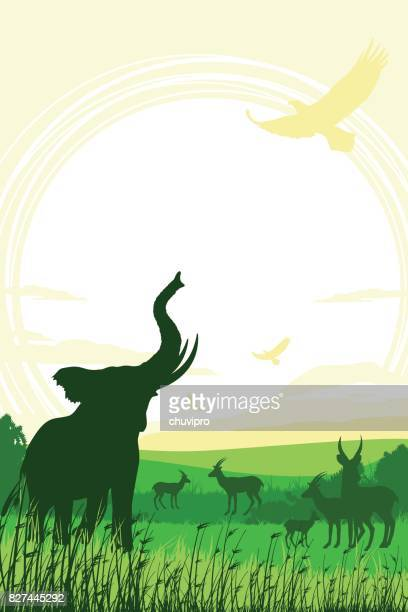 african safari background with trumpeting elephant and antelopes - mt kilimanjaro stock illustrations, clip art, cartoons, & icons
