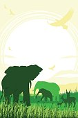 African Safari background with trumpeting elephant, elephant mother, calf and antelopes
