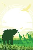 African Safari background with trumpeting elephant, giraffes and zebras