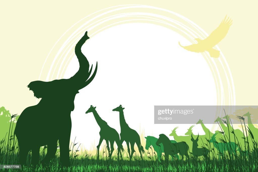 African Safari background with trumpeting elephant, giraffes, zebras and antelopes
