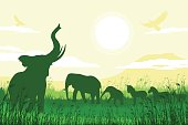 African Safari background with trumpeting elephants, calves, zebras and antelopes