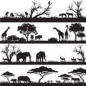 African safari silhouettes