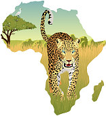 African savannah with heron and leopard - vector illustration