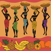 African seamless pattern of fruits and beautiful street vendors