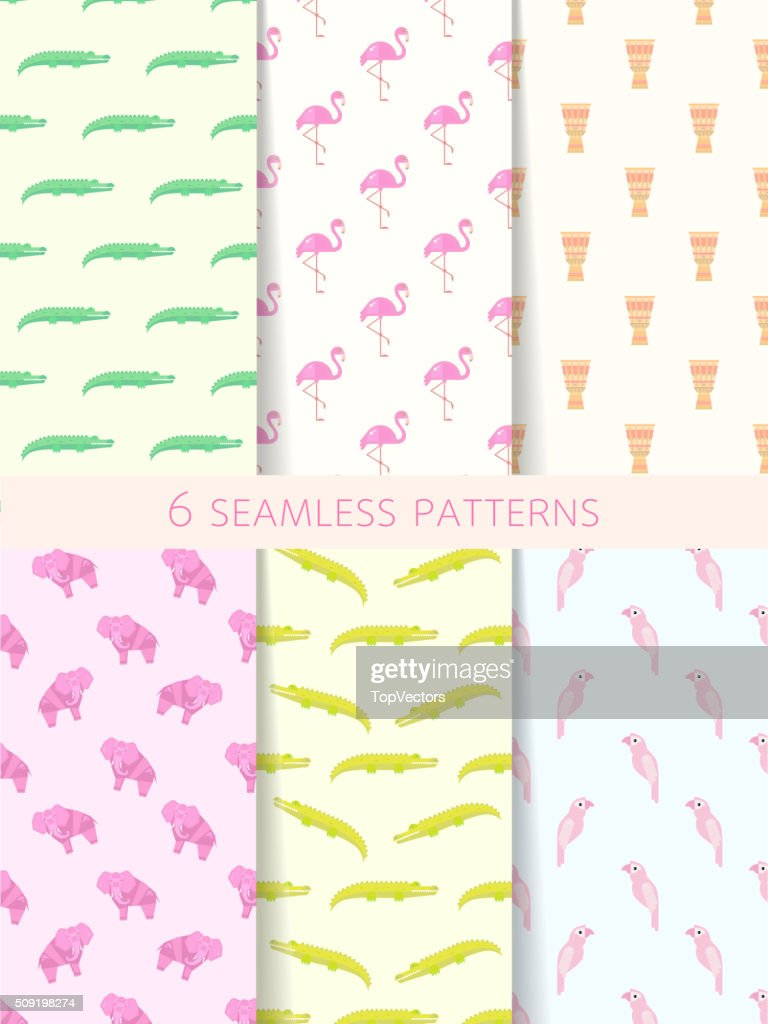 African Seamless Patterns. Vector Set