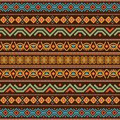 African seamless with adinkra symbols. Antique pattern design. Vector illustration.